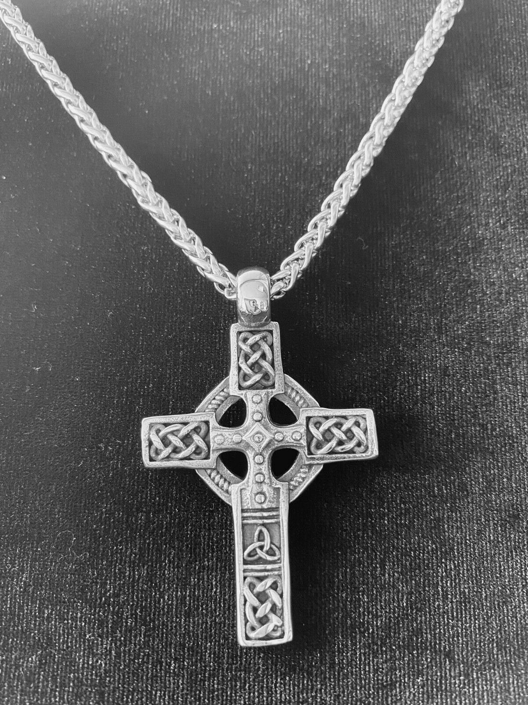 Large 316L Stainless Steel Irish Celtic Cross Pendant FREE Chain