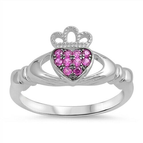 Sterling Silver Irish Claddagh Ring w/ Ruby CZ Size 4-10