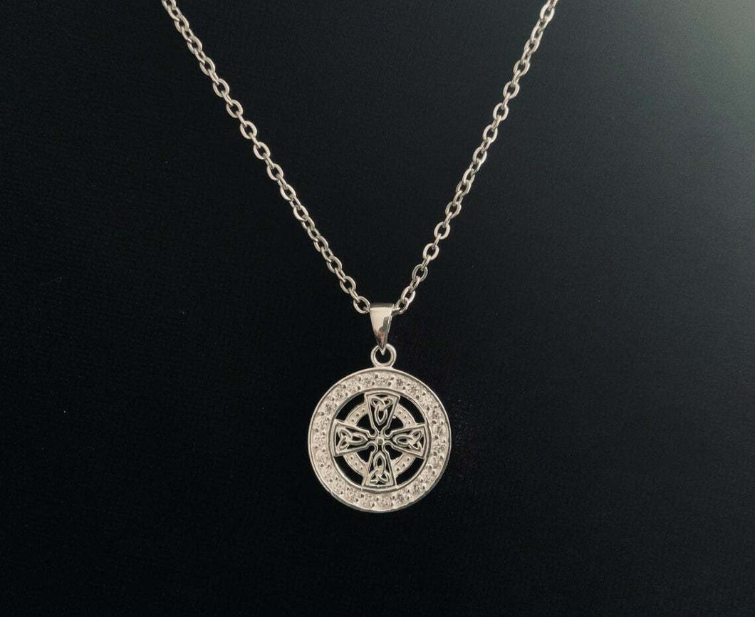 Handcast Sterling Silver Celtic Equal Sided Trinity Cross Pendant FREE Chain