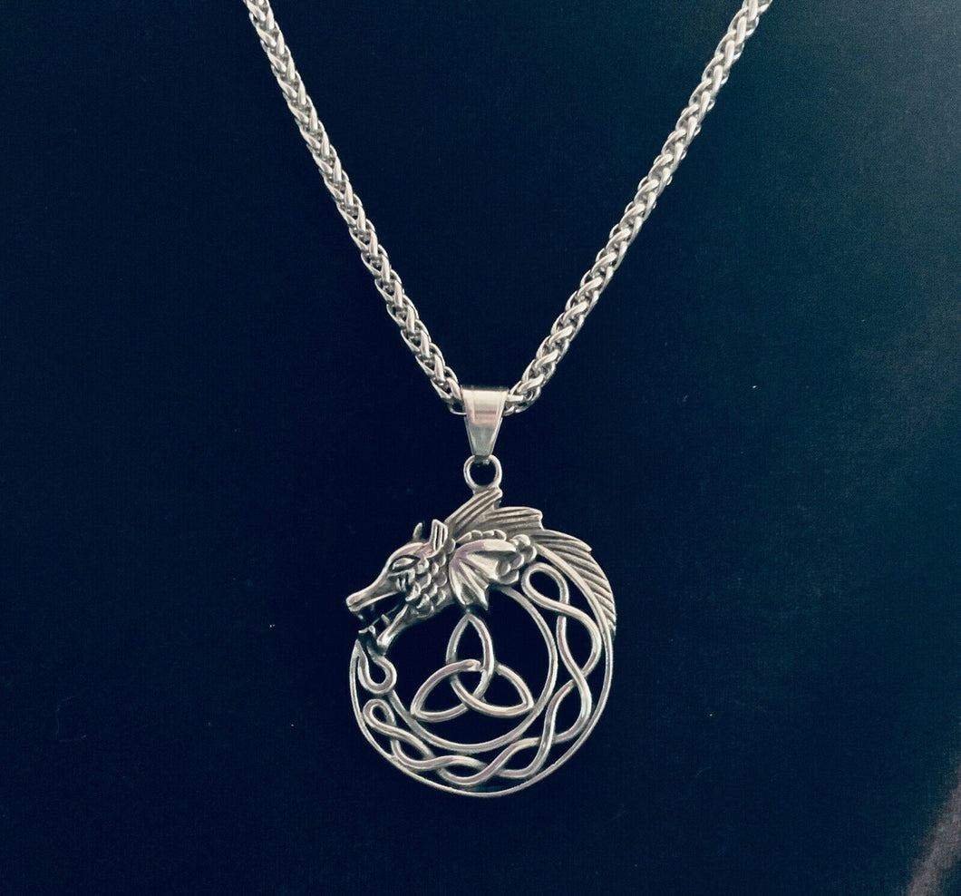 Large 316L Stainless Steel Celtic Trinity Knot Dragon Pendant FREE Chain