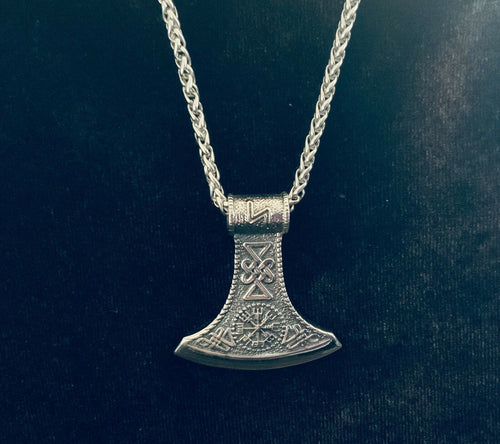 Large 316L Stainless Steel Viking Norse Battle AXE Men Pendant CHAIN