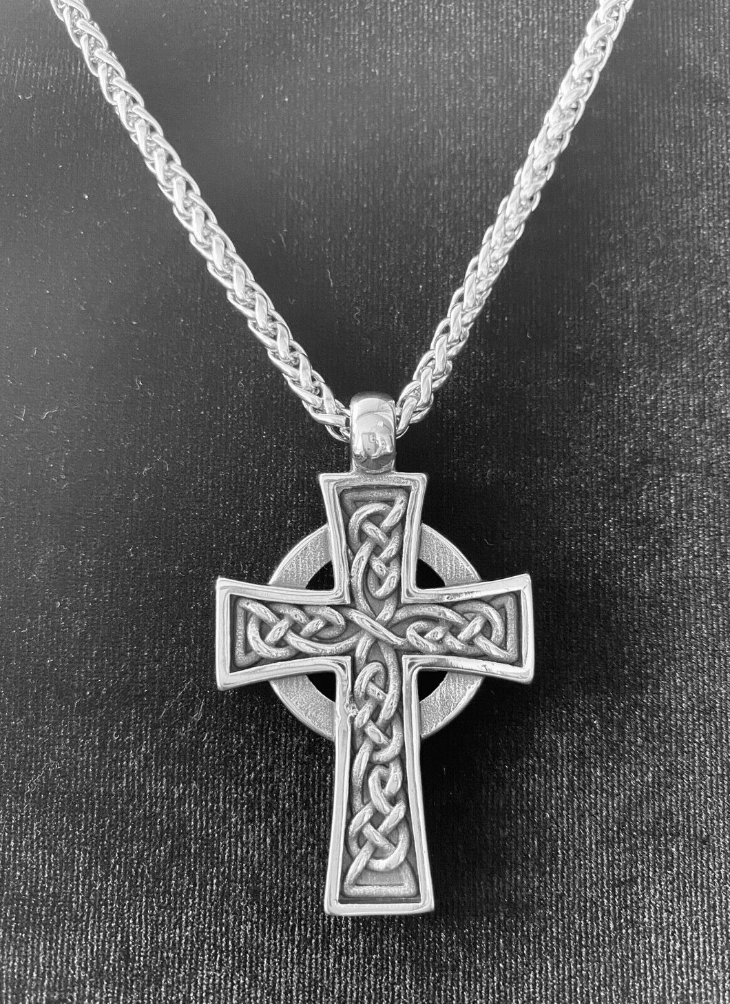 Large 316L Stainless Steel Irish Celtic Men's Cross Pendant FREE Chain