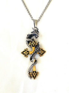 Large 316L Stainless Steel Men's Dragon Cross Pendant FREE Chain