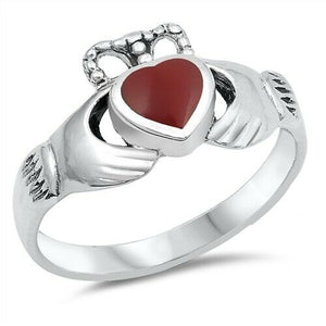 Sterling Silver Irish Claddagh Ring w/ Red Agate Heart Size 4-9