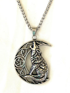Large 316L Stainless Steel Crescent Moon Howling Wolf Pendant FREE Chain