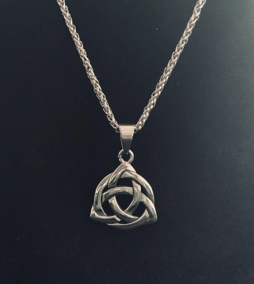 Large 316L Stainless Steel Celtic Trinity Knot Pendant FREE Chain