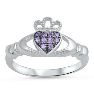 Sterling Silver Irish Claddagh Ring w/ Amethyst CZ Size 4-10