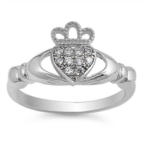 Sterling Silver Irish Claddagh Ring w/ Clear CZ Size 4-10