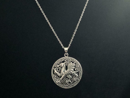 Handcast Large 925 Sterling Silver Welsh Dragon Necklace