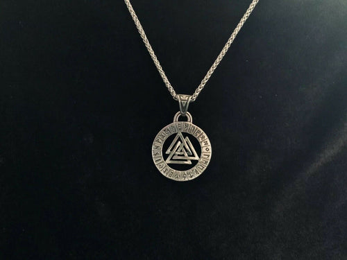 Large 316L Stainless Steel Men's Viking Celtic Norse Valknut Pendant + Chain