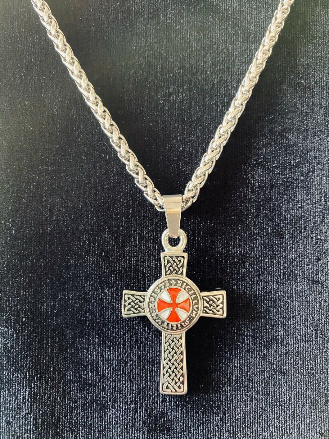 Large 316L Stainless Steel Medieval Crusader Men's Cross Pendant FREE Chain