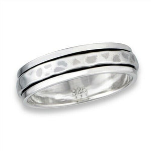 Sterling Silver Unisex Hammered Spinner Ring