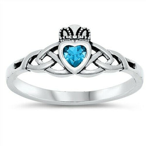 Sterling Silver Irish Claddagh Ring w/ Blue Topaz CZ Size 3-10