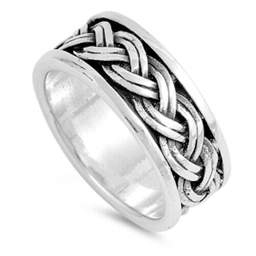 Large 925 Sterling Silver Unisex Celtic Braided Weave Ring Band Size 6-12