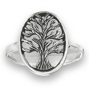 925 Sterling Silver Tree of Life Ring Band Size 6-10