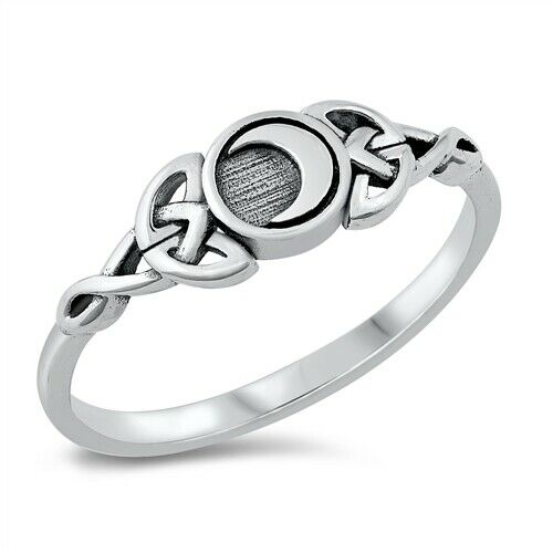 925 Sterling Silver Celtic Moon Ring Size 4-10