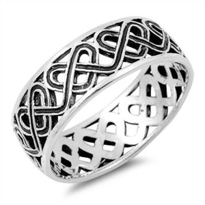 925 Sterling Silver Unisex Celtic Love Knot Heart Ring Band Size 5-14