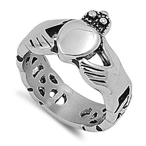316L Surgical Stainless Steel Irish Claddagh Ring