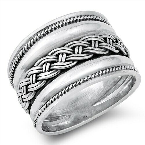 Large 925 Sterling Silver Bali Style Band Ring w/ Celtic Weave Size 6-12