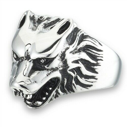 316L Surgical Stainless Steel Wolf Head Ring Band