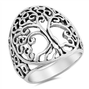 Large 925 Sterling Silver Celtic Tree of Life Ring Band Size 5-10