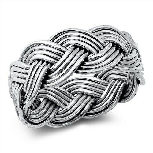 Large 925 Sterling Silver Unisex Celtic Braided Weave Ring Band Size 7-12