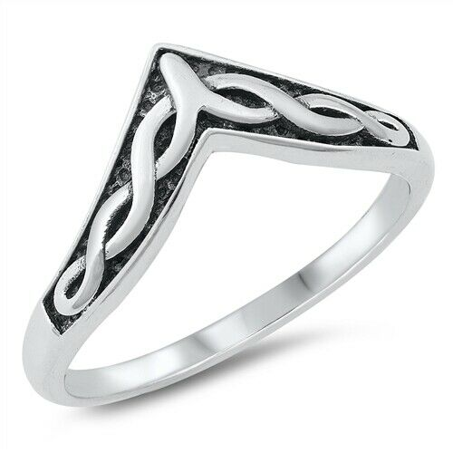 925 Sterling Silver Celtic Knot V-Shaped Ring Size 5-10