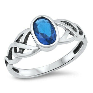 Silver Celtic Triquetra / Trinity Knot Ring Blue Sapphire CZ Size 4-12
