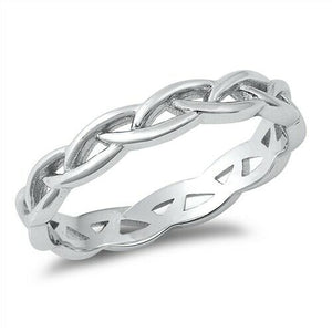 925 Sterling Silver Celtic Braided Weave Band Ring Size 4-10