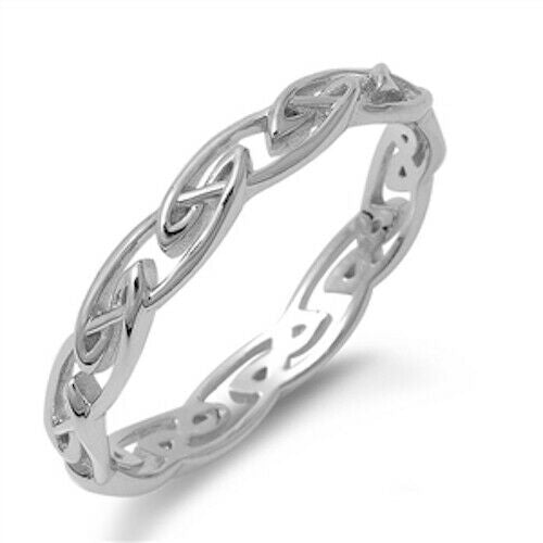 925 Sterling Silver Unisex Celtic Weave Ring Band Size 4-11