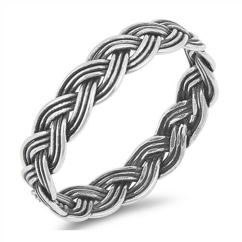 925 Sterling Silver Celtic Weave of Eternity Ring Band Size 3-13