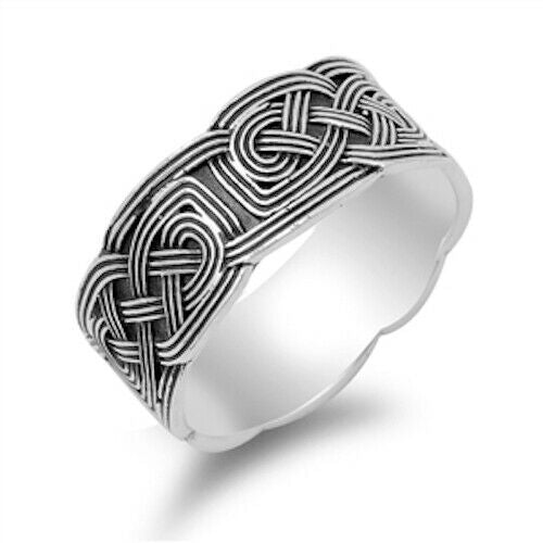 Large 925 Sterling Silver Unisex Celtic Endless Knot Ring Band Size 5-14