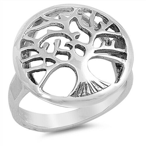 Large 925 Sterling Silver Tree of Life Ring Band Size 6-12