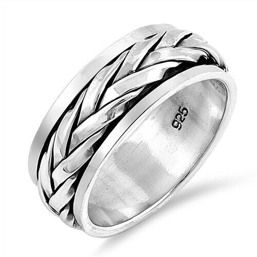 Sterling Silver Unisex Celtic Eternity Weave Spinner Ring