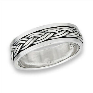 Sterling Silver Unisex Celtic Weave Spinner Ring