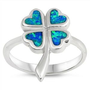 925 Sterling Silver Four Leaf Clover Lab Blue Opal Ring Band Size 6-10