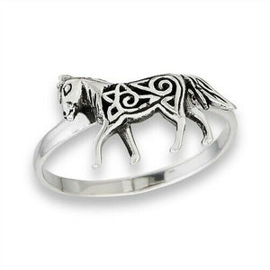 925 Sterling Silver Celtic Horse Epona Ring Size 5-9