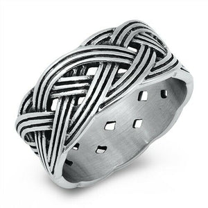 Large 316L Surgical Stainless Steel Celtic Weave Band Ring