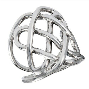 925 Sterling Silver Celtic Heavy Wire Weave Ring Size 6-10