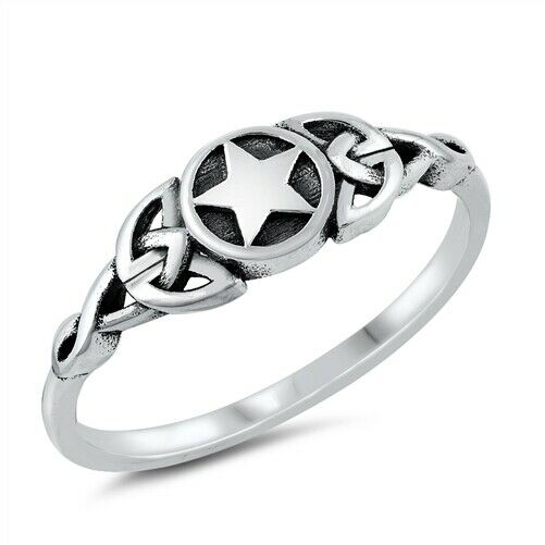 925 Sterling Silver Celtic Star Ring Size 4-10
