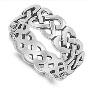 Large 925 Sterling Silver Unisex Celtic Knot Ring Band Size 5-14