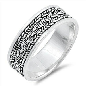 Large 925 Sterling Silver Unisex Celtic Braided Weave Ring Band Size 7-13