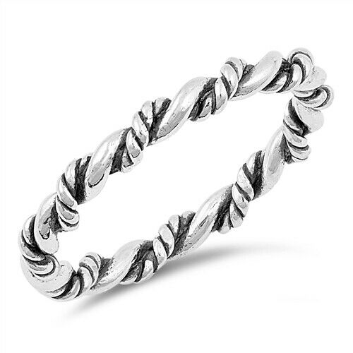 925 Sterling Silver Celtic Braided Rope Band Ring Size 4-10