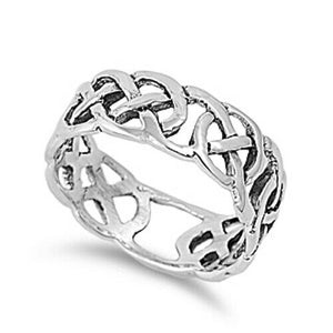Large 925 Sterling Silver Unisex Celtic Knot Ring Band Size 7-14