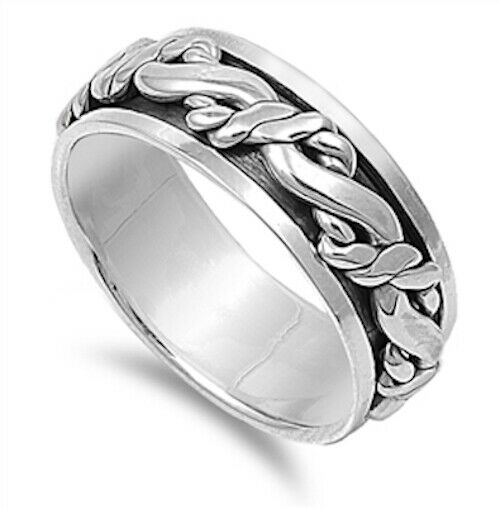 Sterling Silver Unisex Celtic Braided Eternity Weave Spinner Ring