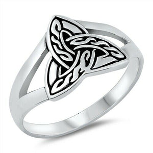 925 Sterling Silver Unisex Celtic Trinity Knot Ring Band Size 5-10