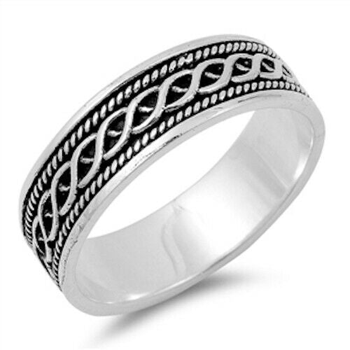 Large 925 Sterling Silver Unisex Celtic Weave Ring Band Size 5-14