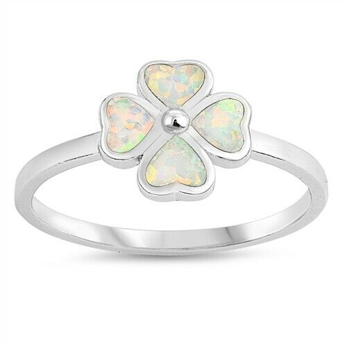 925 Sterling Silver Four Leaf Clover White Lab Opal Ring Band Size 5-10