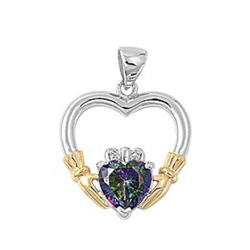 Sterling Silver Irish Claddagh Pendant w/ Rainbow Topaz CZ Heart + Free Chain