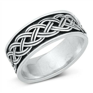 Large 925 Sterling Silver Unisex Celtic Eternity Weave Ring Band Size 7-13
